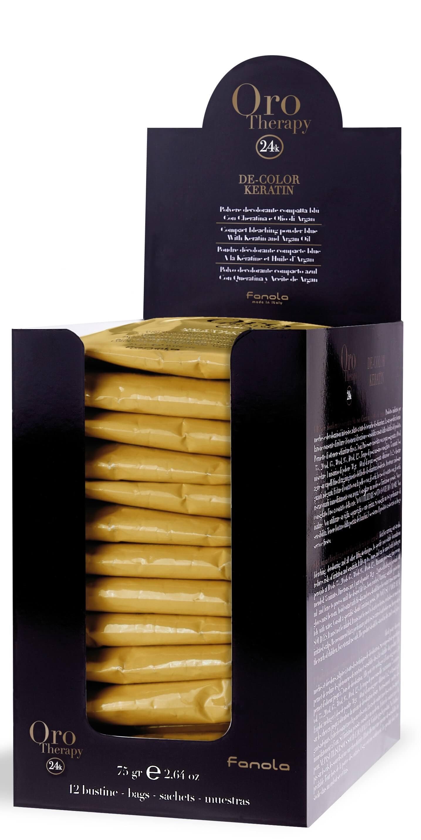 Fanola ORO PURO Therapy DE-Color Keratin Blondierpulver 12 x 75 g
