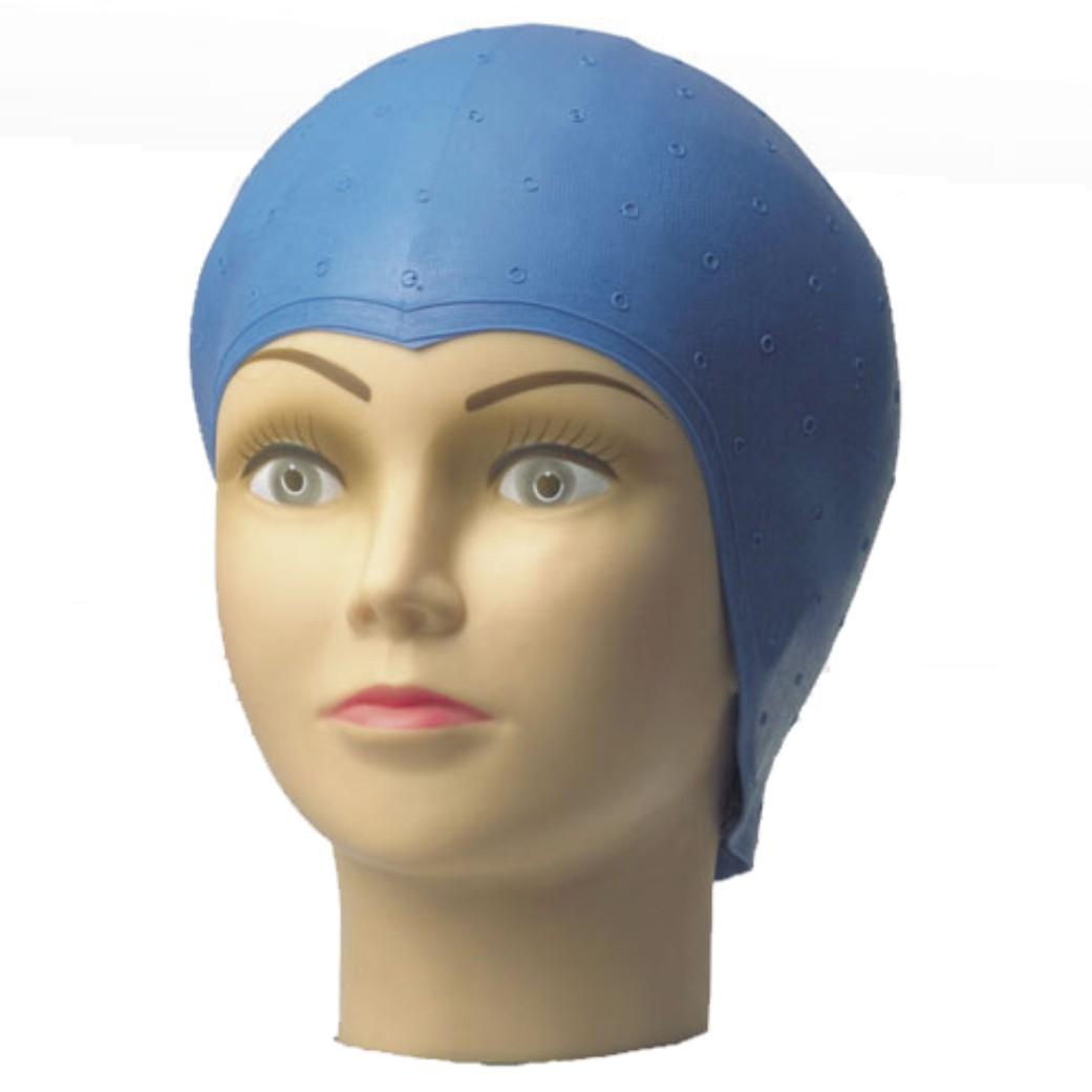 Strähnenhaube Latex blau