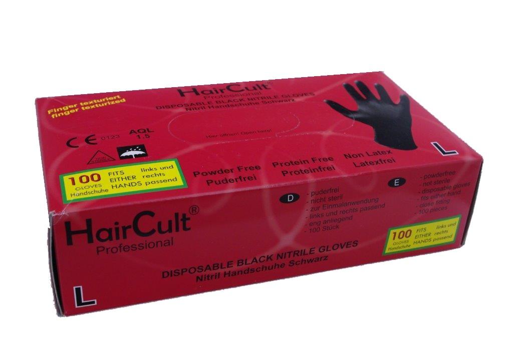 HairCult Professional Nitrile Gloves BLACK 100 St. Gr. S